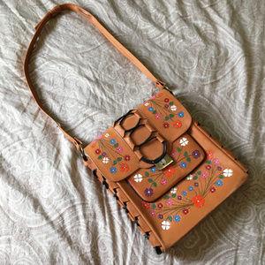 60s 70s Flower Power Boho Hippie Leather Bag